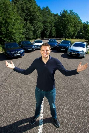 Jake Humphrey test drives Family Saloons for the Sun at Chobham Test Track, Longcross Proving Ground, Surrey.Pic showsJake Humphrey and the six car he tested